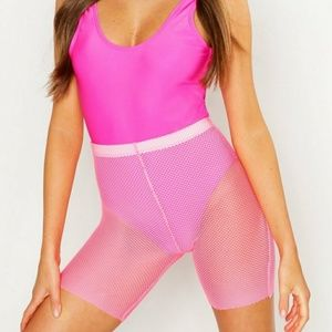 Neon Fishnet shorts swimsuit cover up